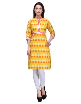 Yellow cotton woven stitched kurti