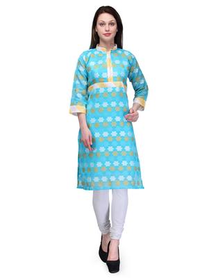 Sky blue cotton woven stitched kurti