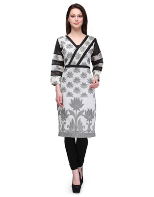 White cotton woven stitched kurti