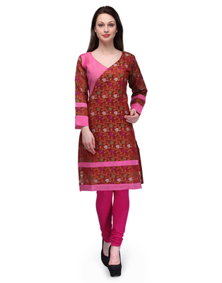 Rust cotton woven stitched kurti