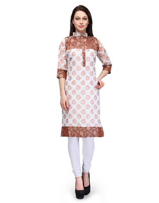 White cotton woven stitched kurti