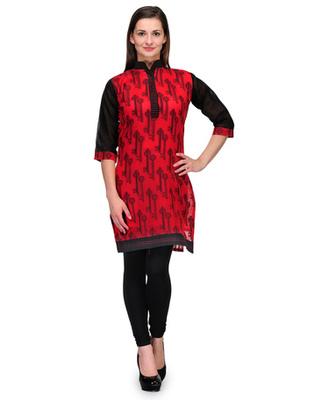 Red cotton woven stitched kurti