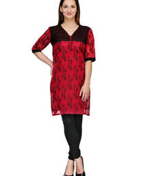 Red cotton woven stitched kurti