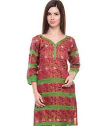 Buy Maroon net woven stitched kurti heavy-work-kurtis online