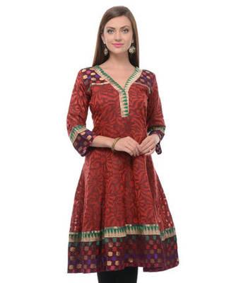 Maroon net woven stitched kurti