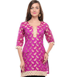 Buy Rani pink cotton blend woven stitched kurti plus-size-kurti online