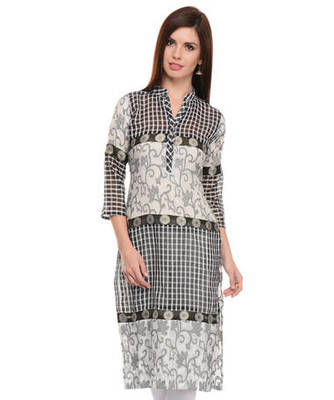Black and white cotton woven stitched kurti