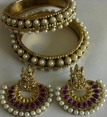 Designer Ram Leela Earings with Traditional Bangles