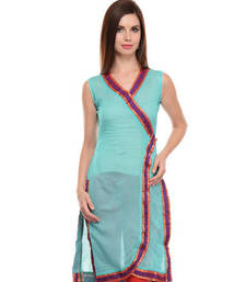 Sky blue cotton woven stitched kurti