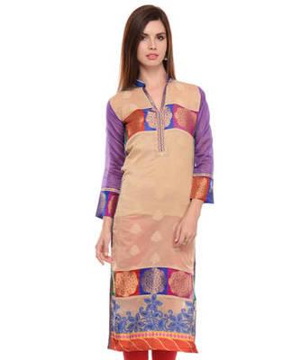Beige cotton woven stitched kurti