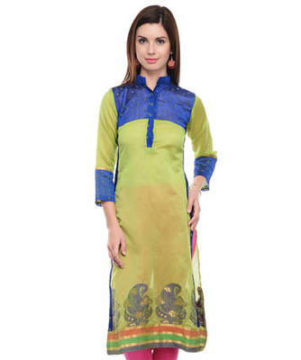 Green cotton woven stitched kurti