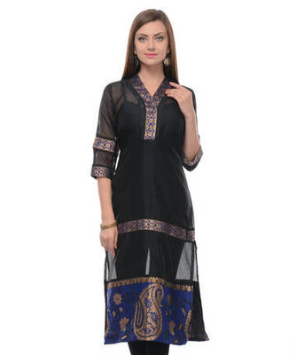 Black cotton woven stitched kurti