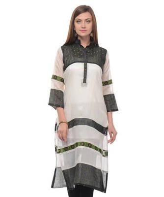 Black and white cotton woven stitched kurti