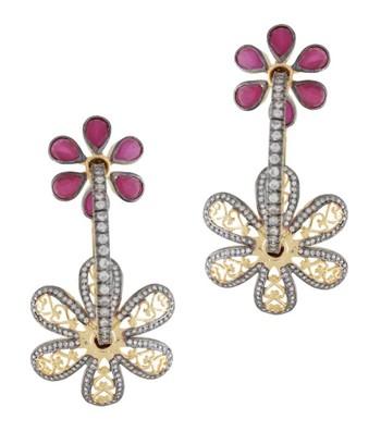 Double Flower Loop Earrings