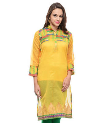 Yellow cotton woven stitched kurti