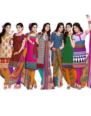 Multi Colour Leon Crepe Dress Material Combo Pack Of 7