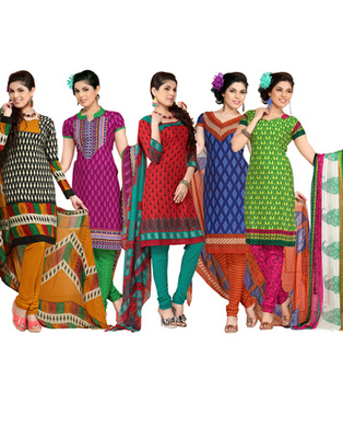 Multi Colour Leon Crepe Dress Material Combo Pack Of 5