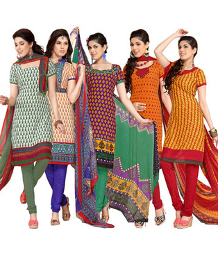 Multi Colour Leon Crepe Dress Material Combo Pack Of 5