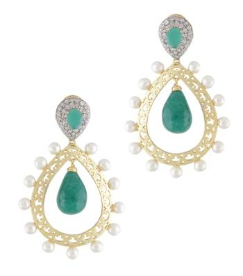 Golden & Green Pearly Pride Earrings