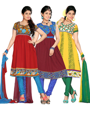 Multi Colour American Crepe Dress Material Combo Pack Of 3