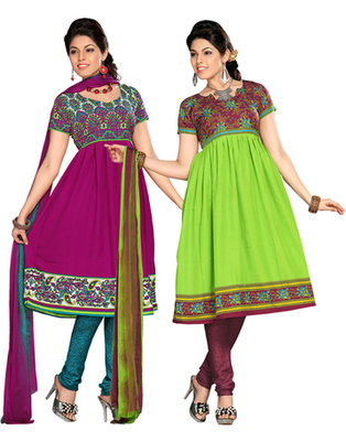 Multi Colour American Crepe Dress Material Combo Pack Of 2