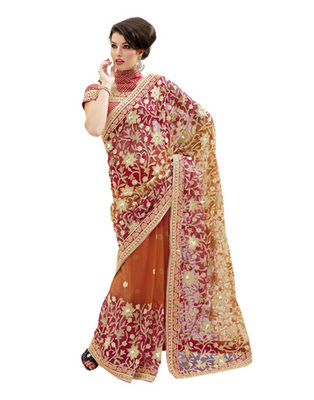 Light Brown Colored Net Embroidered Saree