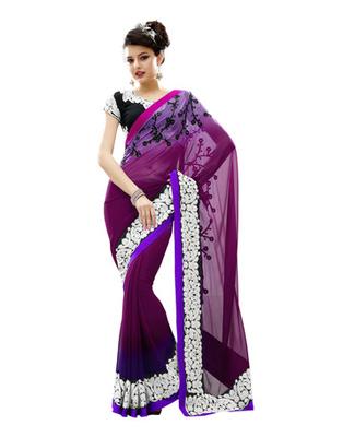 Dark Purple Colored Faux Georgette Embroidered Saree