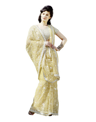 Light Yellow Colored Net Embroidered Saree