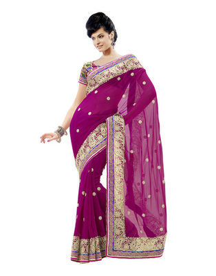 Magenta Colored Faux Georgette Embroidered Saree