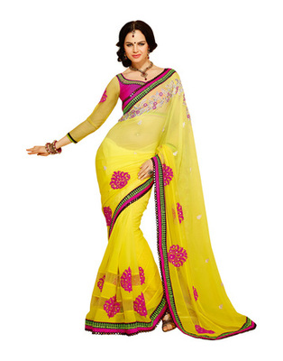 Yellow Colored Georgette Embroidered Saree