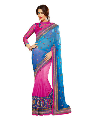 Light Blue Colored Georgette Embroidered Saree