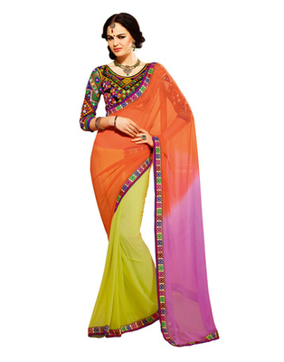 Orange Colored Viscose Embroidered Saree