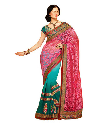 Pink Colored Brasso Embroidered Saree