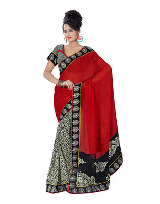 Red Colored Georgette Printed With Lace Border Saree