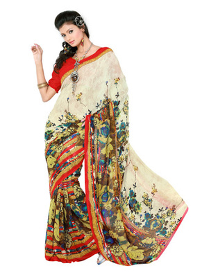 Cream Colored Faux Georgette Printed Saree