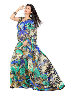 Multi Colored Faux Georgette Printed Saree