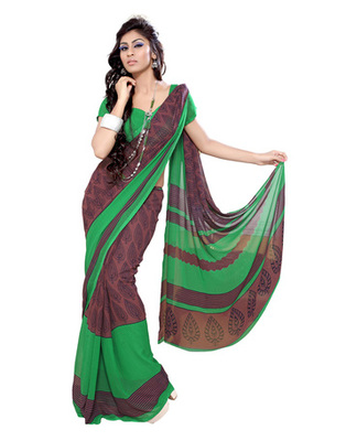 Coffee Colored Faux Georgette Printed Saree