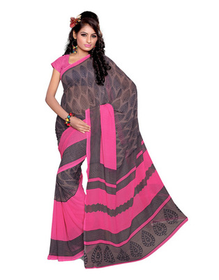 Pink Colored Faux Georgette Printed Saree