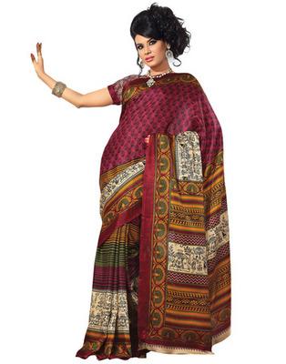Magenta Colored Bhagalpuri Silk Printed Saree