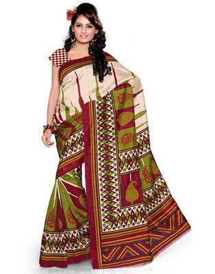 Cream Colored Bhagalpuri Silk Printed Saree