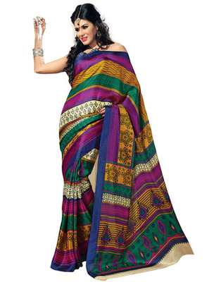 Multi Colored Bhagalpuri Silk Printed Saree