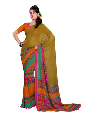 Olive Green Colored Bemberg Georgette Printed Saree