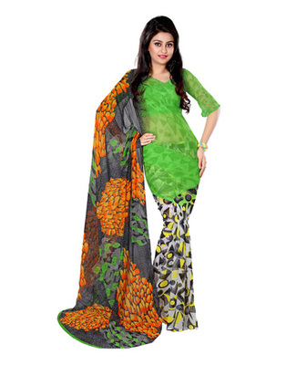Green  Colored Georgette Bemberg Printed Saree