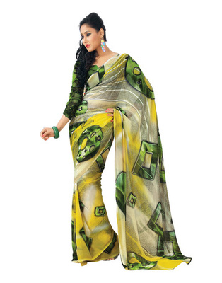 Yellow Colored Faux Georgette Printed Saree