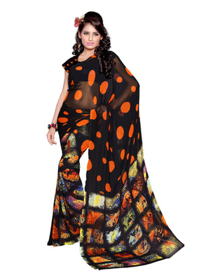Black Colored Faux Georgette Printed Saree