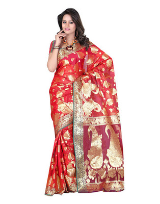 Red Colored Banarasi Cotton Weaving Embroidered Saree