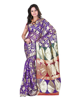 Purple Colored Banarasi Cotton Weaving Embroidered Saree
