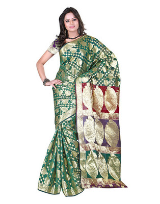 Green Colored Banarasi Cotton Weaving Embroidered Saree