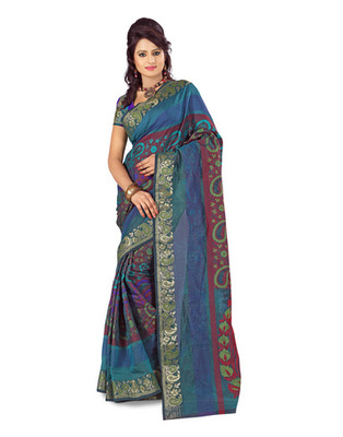 Maroon Colored Banarasi Cotton Weaving Embroidered Saree