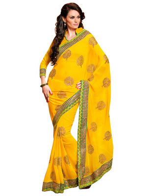 Yellow Colored Chiffon Saree